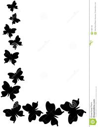 Monochrome Butterflies Border Corner Stock Illustration