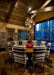 cabin lighting ideas dining room rustic with vaulted ceiling