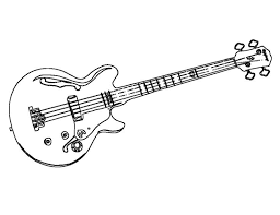Music Electric Bass Guitar Coloring Pages For Kids Printable