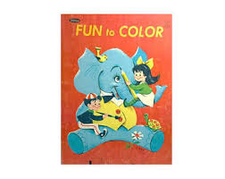 Vintage Childrens Fun To Color Coloring Book 1956 Whitman Publishing Mid Century 50s