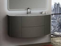 gewölbtes badmöbel modo 121 cm taupe matt waschbecken weiss glänzend