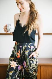 Casual At Home Outfit With Lace Cami And Floral Silk Pants Perfect For Your Spring Wardrobe Mlovesm