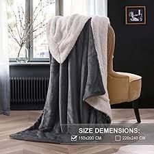 kuscheldecke fleecedecke weiche decke grau dicke wolldecke 150x200cm warme kuschelige decke wohnzimmer aus hochwertige lammfell anthrazit oelife