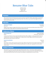 Select Template A Sample Of Blue Tabs Resume