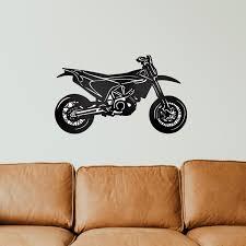 supermoto motorrad metall wanddeko bohlingsteeldesign