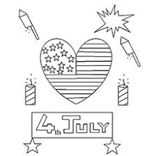 Fireworks And Heart Shaped Flag On Independence Day Of USA Happy 4th July Colouring Page