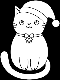 Beautiful Coloring Pages Christmas Cat Clip Art With Kitty And