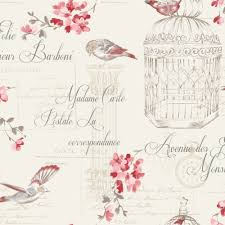 Shabby Chic Birds And Typography Wallpaper Redcream The