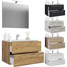 vcm 3 tlg waschplatz badmöbel badezimmer set waschtisch waschbecken schubladen keramik badinos spiegel