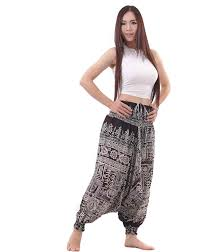 tribal pants aztec harem in black and white