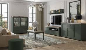 wohnzimmer set evora schrankwand mit couchtisch 5 teilig grün eiche lefkas landhaus stil