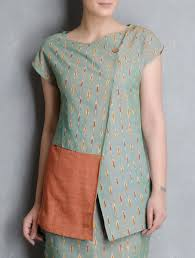 buy green orange ikat cotton tunic by indian august apparel tunics