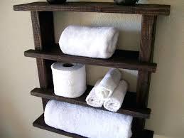 Shelves For Towels Rustic Bathroom Towel Rack Wood Shelf Wall Storage