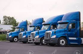 100 High Trucks Side View Of The Blue Big Rigs Semi Tractors With