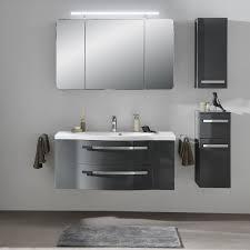 pelipal fokus 4005 bad möbel set 3 teilig steingrau hochglanz spiegelschrank mineralmarmor waschtisch unterschrank led beleuchtung
