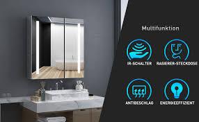 tokvon penumbra 63x65cm spiegelschrank led badezimmer