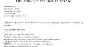 Resume For Cdl Driver Beautiful Truck Sample