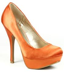 Orange Satin Fashion Round Toe Platform Pump 7 Us