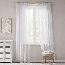 gardinen schals weiß leicht soft mit stangendurchzug voile vorhänge schlafzimmer transparent vorhang für große fenster organza lang 2er set je
