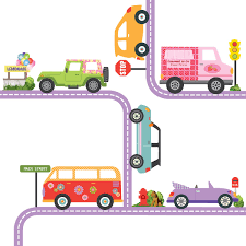 100 Truck Decals For Girls Colorful Adventure Cars Wall With Road Purple Straight An