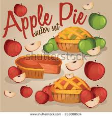 Set of Apple Pies isolated with Apples Sweet tart dessert treat Vector illustration