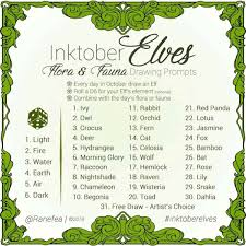 Inktober2018 Alternative Prompt List Inktober Pinterest Elf