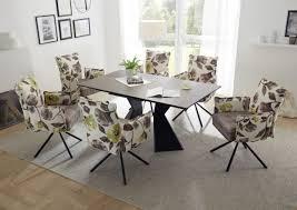 essgruppe robinson tischgruppe esstisch mit 6 stühlen tisch ausziehtisch keramik glas rechteckig braun 160 210cm