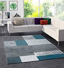teppich wohnzimmer kurzflor türkis grau weiß modern kariert