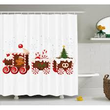 Christmas Bathroom Sets At Walmart by Christmas Shower Curtain Set Train Made Of Gingerbread Cream And