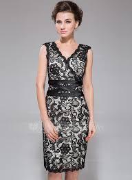 sheath column v neck knee length charmeuse lace cocktail dress