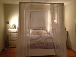 Twin Metal Canopy Bed Pewter With Curtains by Twin Canopy Bed With Storage Bath And Beyond Curtains Trundle