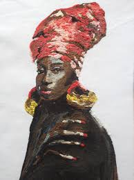 African Queen Red Hat Afro Painting 3d WALL ART