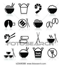 Clip Art Chinese take away food icons Fotosearch Search Clipart Illustration Posters