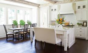 White Wellborn Cabinets Plus Dining Table And Wooden Floor For Kitchen Design Ideas