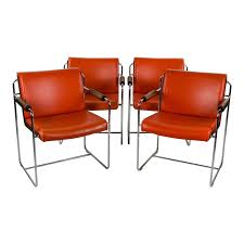 Mid-Century Modern Orange Leather Upholstered Dining Chairs - Set Of 4 Burnt Orange Ding Chair Wayfair Room Chairs Upholstered Sets World Market Orange Lvet Chair Ultralighttentinfo Pair Of Stud Chenille Effect Black Legs Midcentury Modern Leather Set Of 4 Satchel Eurway Decoration Tan At Table In Ding Table With Chairs Design Ideas Shankar Espresso Style 9 Scroll Back Matrix Persimmon Fusion Living Faux Industrial Bar Stool