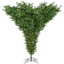 Vickerman Upside Down 75 Green Artificial Christmas Tree With 650 Dura Lit Clear Lights Stand Reviews