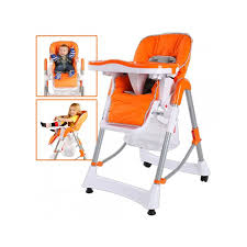 chaise pour bébé chaise haute pour bébé enfant orange deladim