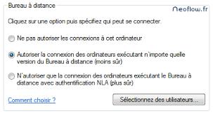 autoriser bureau a distance paramétrer la connexion au bureau à distance sous windows