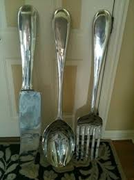 Large 3 Silver Fork Knife Spoon Wall Decor Metal Utensil Art 36H