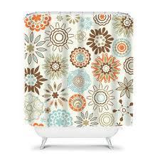 Shower Curtain Brown Aqua Blue Orange from HoneyDesignStudio on