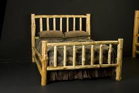 Custom Wilderness Log Bed Frame by Viking Log Furniture