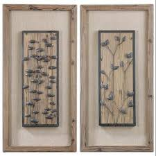 Wall Art Designs Wood And Metal Set Of 2 Rust Bronze