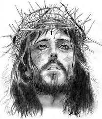 Grey Ink Jesus Tattoo Design