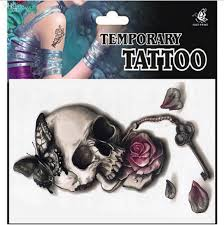 Wholesale Punk Sexy Temporary Tattoos Skull Rose Flower Key Butterfly Tatoo Neck Arm Shoulder Lower Back Chest For Women And Men Sons Of Anarchy