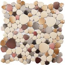 cheap porcelain floor mosaic pebble tile glazed wall tiles design