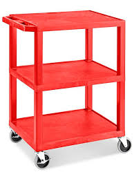 Uline 3 Shelf Utility Cart With Flat Shelves