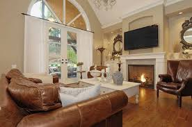 Family Room Layout Brown Leather Chair