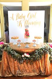 A Custom Backdrop Abundant Garland Gold Sequin Tablecloth Cake Topper And Cupcake Wraps Make Table With Small Number Of Desserts Much