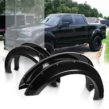 100 Wheel Flares For Trucks Glossy Black Pocket BoltRivet Fender Cover For 0408