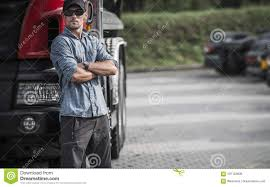 100 Truck To Trucker Er And His Semi Stock Image Image Of Work 107123609